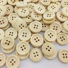 Новые 100 шт милые 4 отверстия деревянные пуговицы 20 мм Швейные ремесла смешанные партии WB27