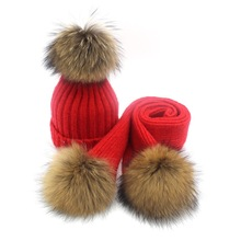 Lady Blinger creative pom pom knitted hat scarf wool knitted scarf adult kids real reaccoon fur pom pom scarf and beanie set