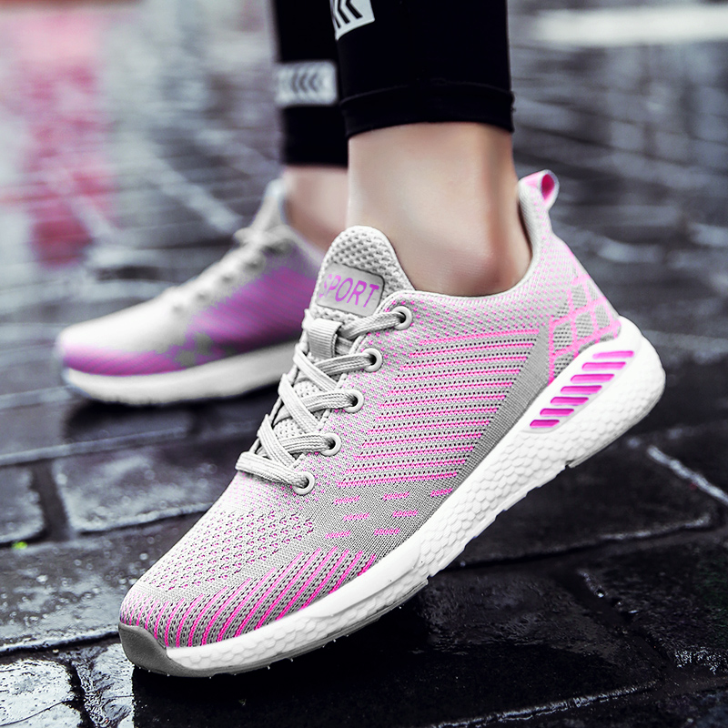 Sneaker Chaussures Casual-Shoes Comfortable Female Trendy Fashion Pink Nice Pour Lace-Up