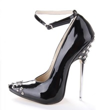 Sexy Rivet Heels Pumps For Women Ankle Strap Pointed Toe Sky High Heel Pumps 16CM Spring Autumn High Heel Dress Shoes Big Size