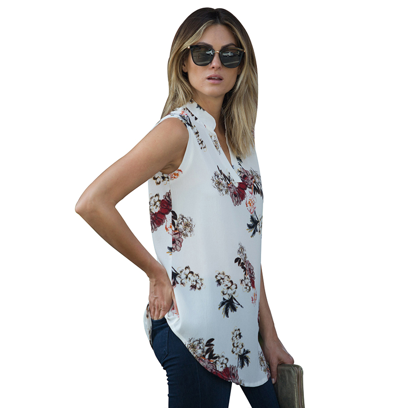 Chiffon Casual Sleeveless Tunic V-neck Loose Women's Top