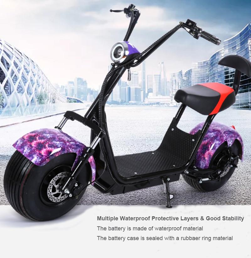 Spor ve Eğlence'ten Elektrikli Scooterlar'de Moto Scooter Fabrika Satış Yetişkin E bisiklet Elektrikli 1000 W Lityum Pil ile Çift Arka Koltukta Fren Direksiyon lamba arka stop title=
