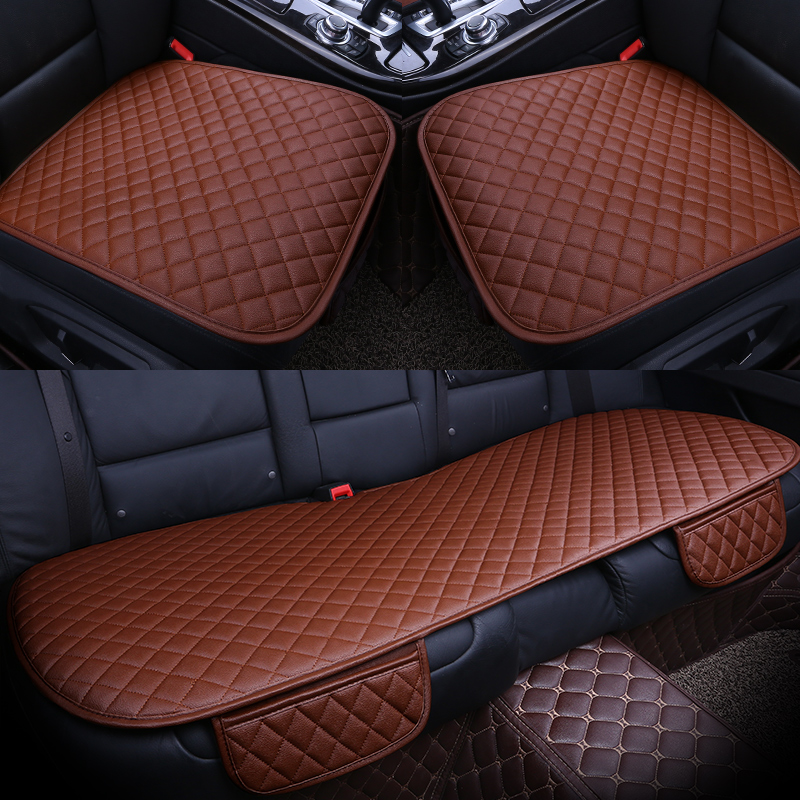 3pcs//Set PU Leather Car Seat Cover Universal Backless Car Seat Cushion Pad Black