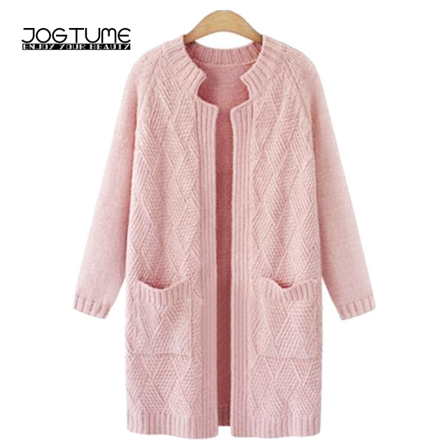 Aliexpress.com : Buy JOGTUME Pink Knitted Cardigan Sweater 2017 ...