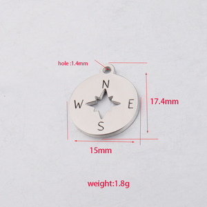 Image 2 - Fnixtar Compass Charm Stainless Steel Mirror Polishe DIY Necklace Bracelet Jewelry Finding  15*17.4mm 20piece/lot