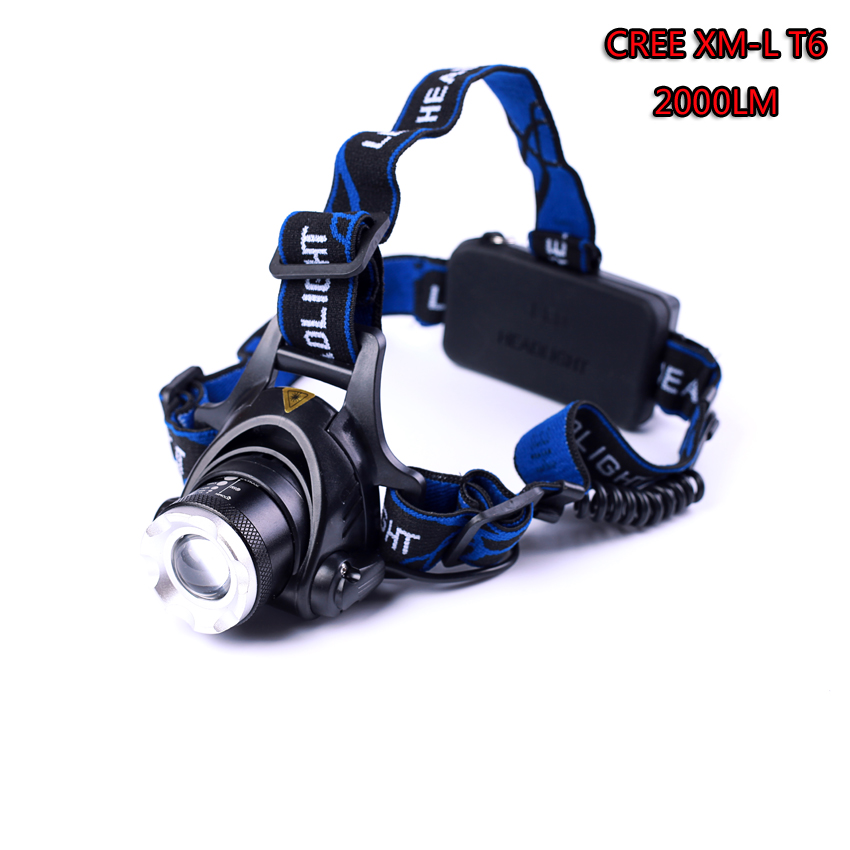 Led Headlight XM-L T6 LED 2000LM Headlamp Light Zoomable Lantern Camping Hunting Flashlight Torch