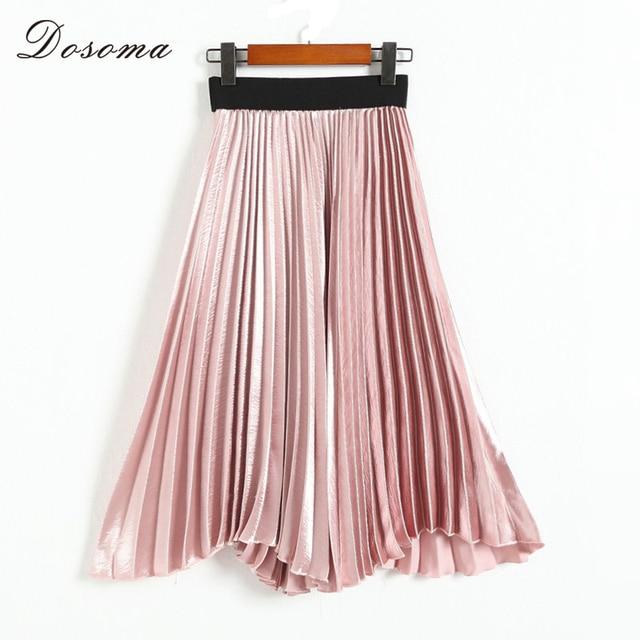 f36c1c65cc Dosoma-oro-met-lico-Falda-plisada-verano-Mujer-2018-elegante-largo-faldas -mujer-alta-cintura-del.jpg 640x640.jpg