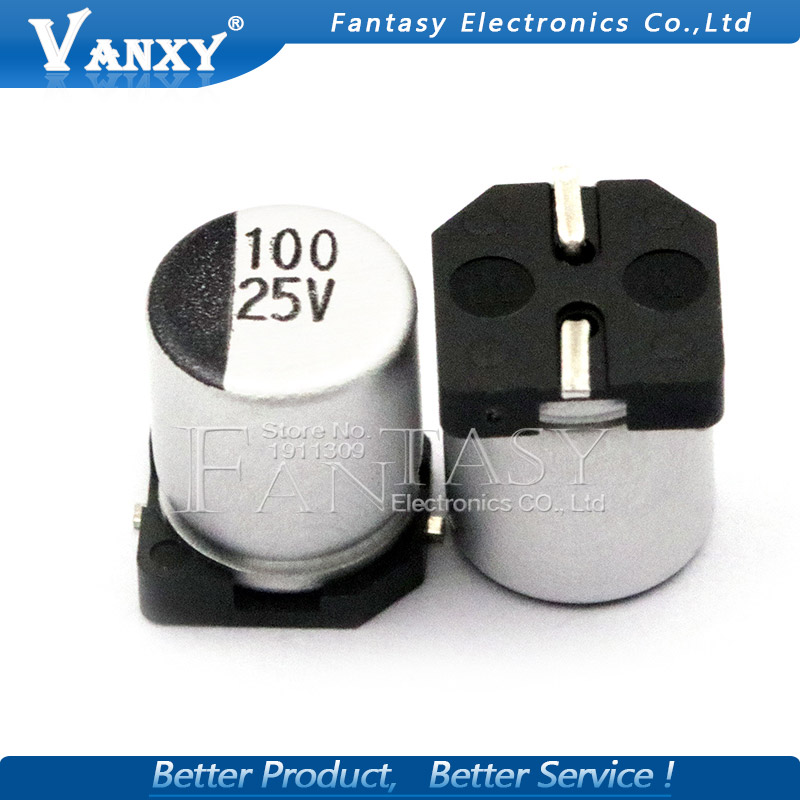 10PCS Electrolytic Capacitor 25V100UF 6.3*7.7mm SMD Aluminum Electrolytic Capacitor 100uf 25v