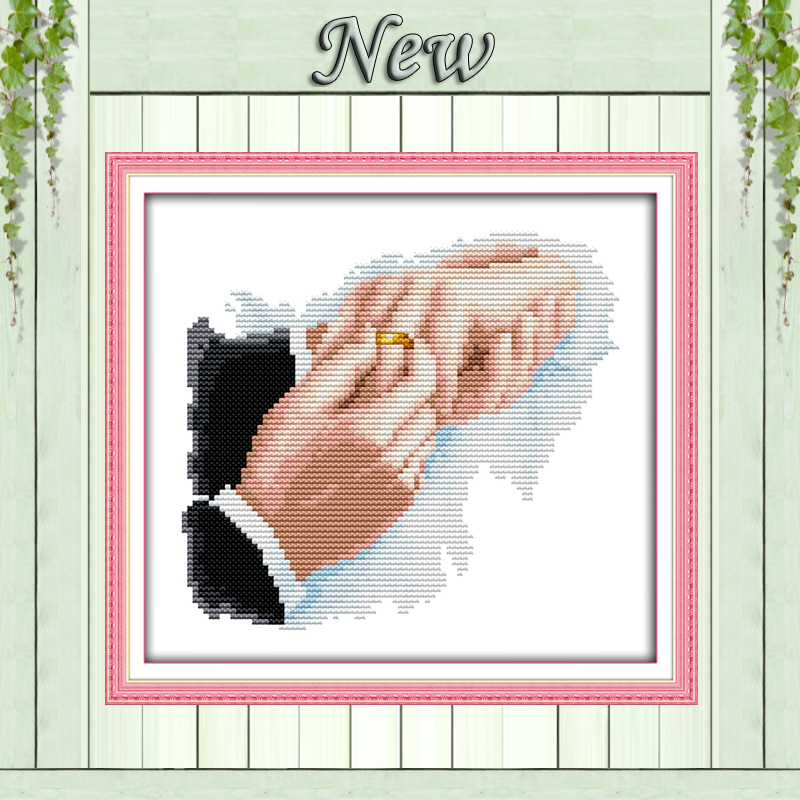Hold hands in hand Counted Printed on canvas DMC 11CT 14CT Cross Stitch Needlework Sets embroidery kits paintings DIY home decor