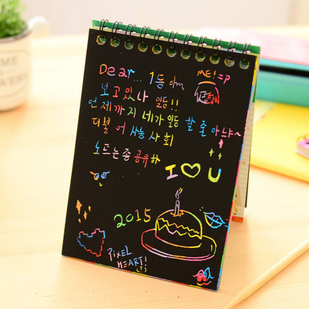 FangNymph  Magic Drawing Book DIY Scratch Notebook Black Cardboard As Gift For Kids