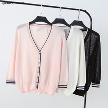 Spring Summer Crop Tops Ladies Single-breasted V-Neck Knitted Thin Summer Cardigan Striped Cuffs Casual Loose Linen Shirts Women v neckline single breasted striped babydoll top