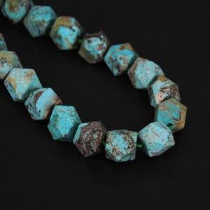 Image 3 - Ограненные бусины самородки, незакрепленные, небесно голубые камни, просверленные посередине, прибл. 20 шт/УП.