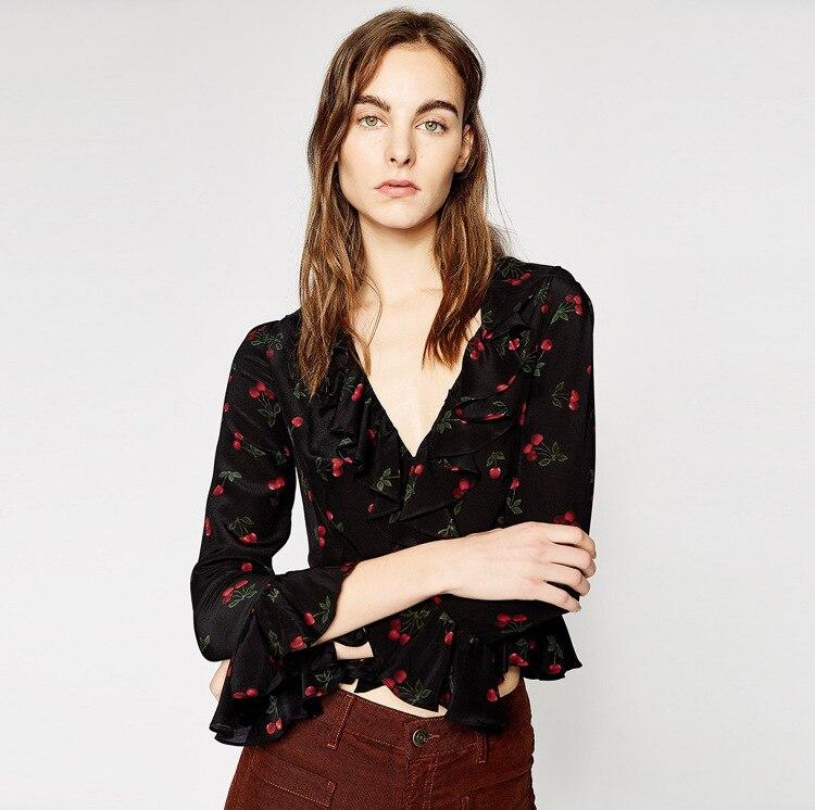 ผู้หญิงเสื้อ 2018 ฤดูใบไม้ผลิและฤดูร้อนชิ้นห่อสีแดงเชอร์รี่พิมพ์, ผ้าไหม-ใน เสื้อสตรีและเสื้อเชิ้ต จาก เสื้อผ้าสตรี บน   1