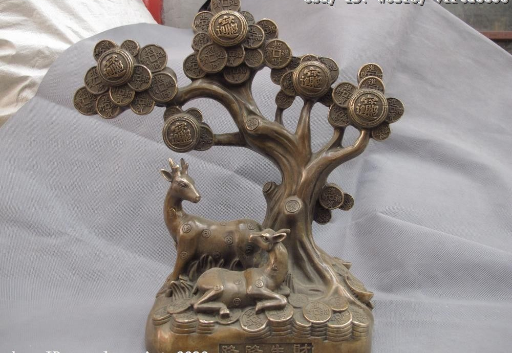 Chinese Copper Bronze Feng shui Lucky Wealth Two Sika deer Money Tree Statue