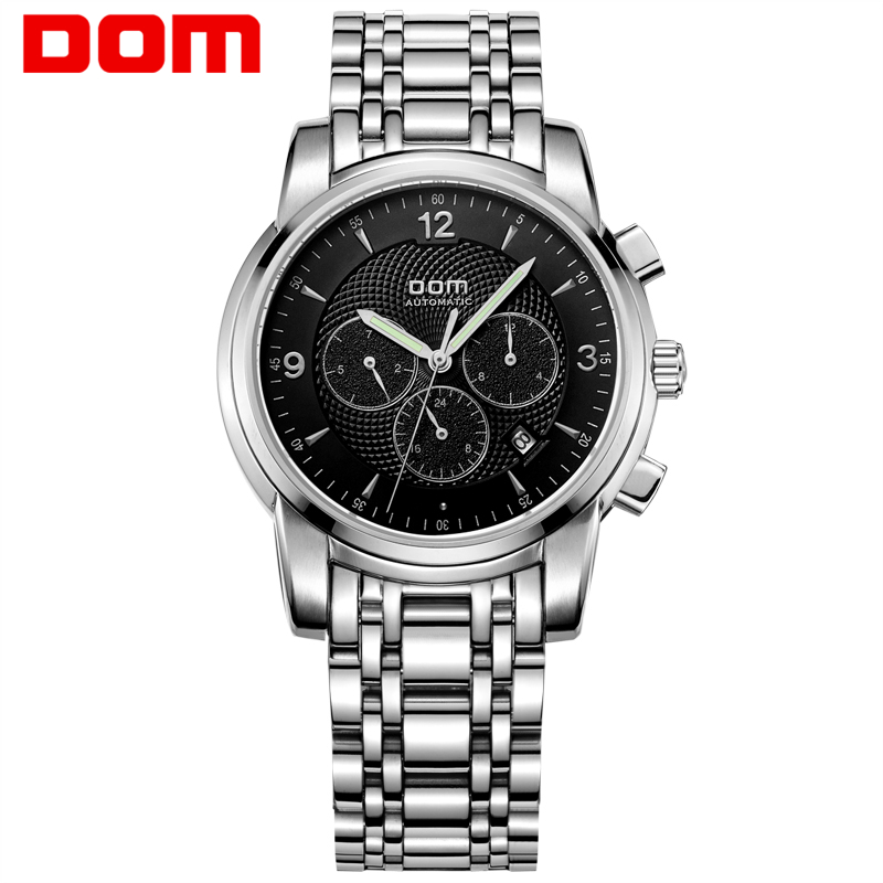 Men watches DOM Brand luxury Sport waterproof Automatic Skeleton mechanical stainless steel Man Watch Business reloj M-813D-1M