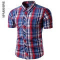 2017 Brand Short Sleeve Office plaid shirt Men Camisa Masculina Korean Slim Design Formal Casual Male Dress Shirt Men's shirts