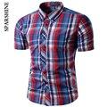 2017 Marca Escritório de Manga Curta camisa xadrez Masculina Camisa Masculina Coreano Design Slim Formal Vestido Casual Masculino Camisa dos homens camisas
