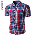 2017 Marca la Oficina de Manga Corta a cuadros de Los Hombres camisa Masculina Camisa de Los Hombres de Corea Delgado Diseño Formal Casual Male Dress camisas