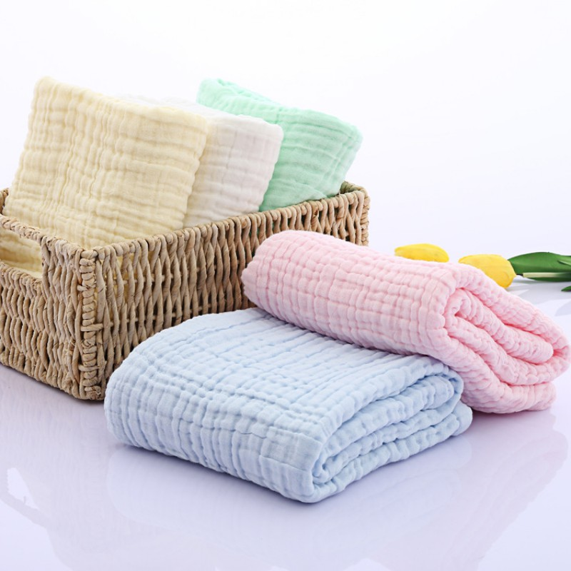 High Quality Soft 120x120cm Muslin Baby Swaddling Blanket Newborn Infant 100% Combed Cotton Swaddle Towel