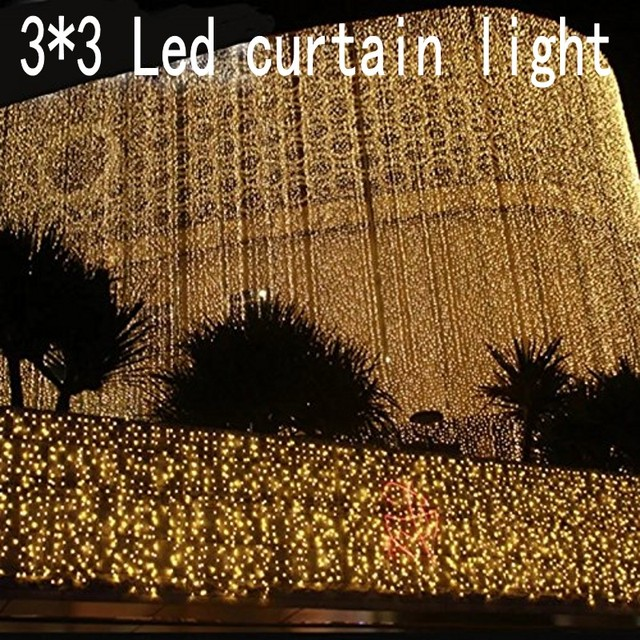 3x3m LED Icicle String Lights Christmas Fairy Lights garland Outdoor Home For Wedding/Party/Curtain/Garden Decoration
