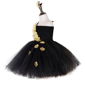 Image 2 - Vestido de tutú de pétalos de flores doradas negras para niñas tutú de tul para desfile de noche, vestido de boda para niñas, vestido de fiesta de cumpleaños
