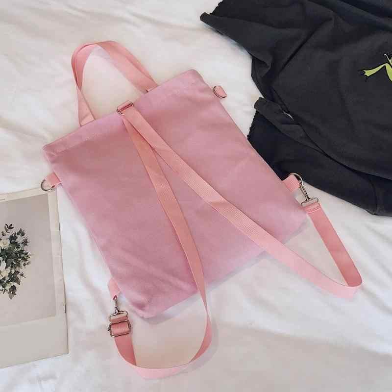 Mignon toile sac à bandoulière femmes carré fourre-tout étudiants durables école Shopping sacs à dos grande capacité pochette femme Harajuku