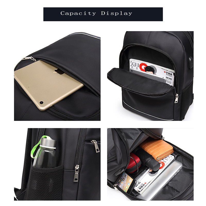 Image 3 - Charging USB teens School Bags for Teenage Boys Backpack men nylon black solid High Quality student SchoolBag Preppy Style 2019-in School Bags from Luggage & Bags