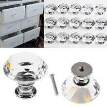 10 Pcs/lot Crystal Glass Diamond Furniture Handles Drawer Wardrobe Kitchen Cabinets Cupboard Door Pull Knobs K9 30MM