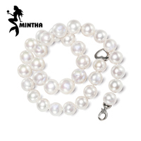 MINTHA Pearl Jewelry Natural Pearl Necklace 9 11mm Nearly Round Pearl Necklace For Women CLASSIC Necklace