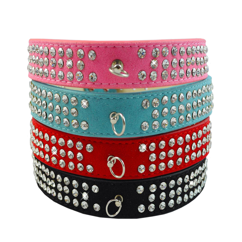 1PC Dog Collars Pet Small Dog Leather Collar Rhinestone Necklace S M L 3 Rows Bling Rhinestone Animal Dog Accessories Hot Sale