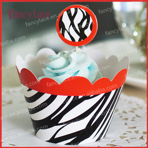 24pcs zebra crossing cupcake wrapper birthday party cake decoration for baby shower christmas party supplies in cake decorating supplies from home garden - Christmas Zebra Decorations