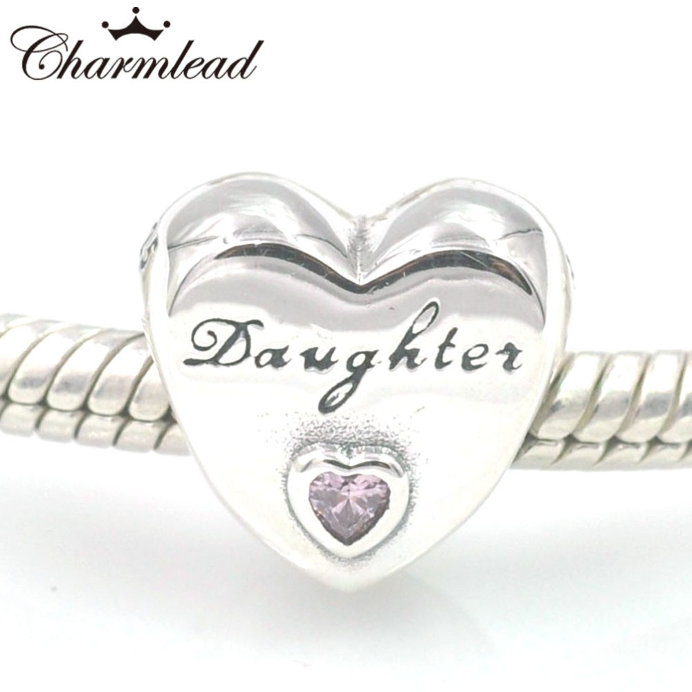 Daughter's Love Charm, Pink CZ 925 Sterling Silver Charms Fit Pandora & Other European Charm Bracelets