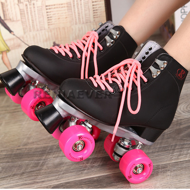 Breathable figure skating roller skates women innovative Style middle-heel double PU rollers easy balance for beginners