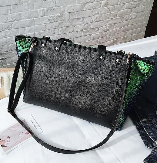 Women Big Tote bags 2018 High Quality PU Leather Handbags Women's Designer Handbag Large Handbags Sequins Letters Shoulder Bags 6