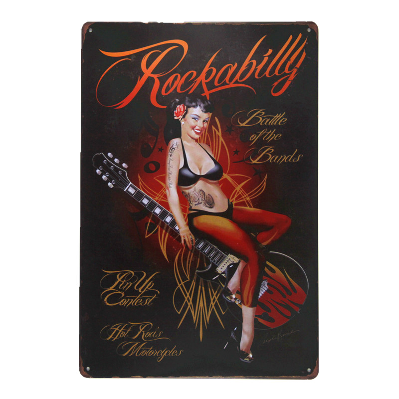 Vintage Tin Sign Rockabilly Pin up girl Lounge Bar Art Poster House Office Restaurant Bar iron Paintings