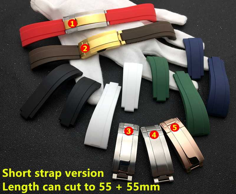Shortest Black Red Blue white 20mm silicone Rubber Watchband watch band For Role strap Daytona Submariner GMT OYSTERFLEX logo