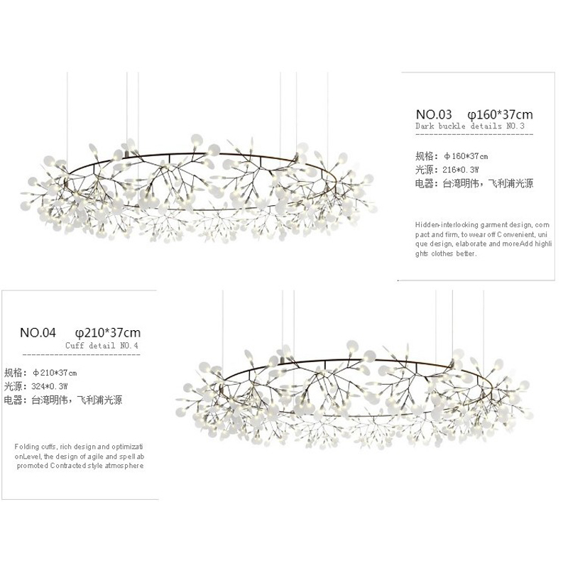 Creative AC220-240V LED Tree Branch pendant lights lamp Modern lampshade firefly glowworm bug droplight pendant lamp