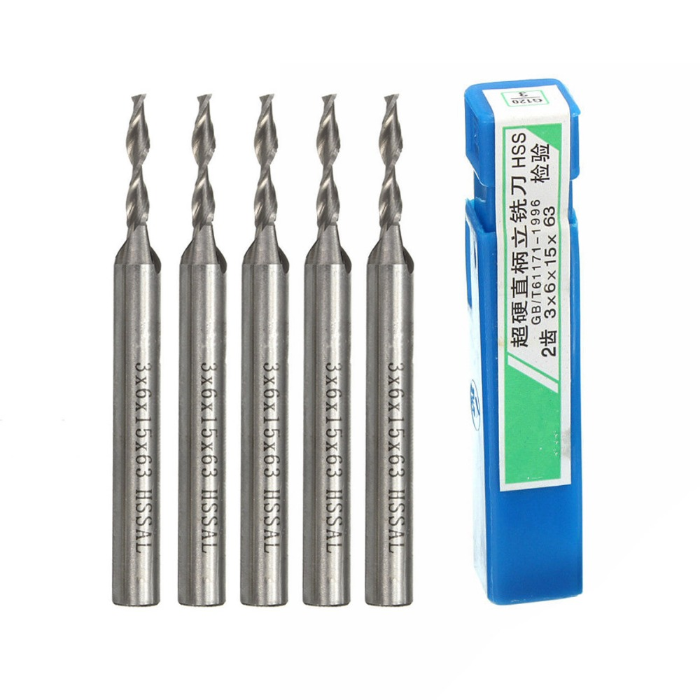 5Pcs Extra Long 3mm 2 Flute HSS & Aluminium Extended End Mill Cutter CNC Bit Kit SA842 P0.11 hot sale 1pc good 6mm x 6mm 3 flute hss aluminium end mill cutter extended cnc bit incisive strong and durable
