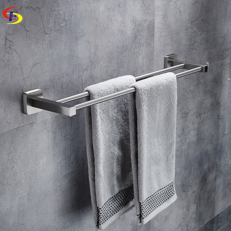 OFYAGE Wall Mounted 304 Stainless Steel Brushed Double Towel Bars Towel Racks Towel Holder Bathroom Products For Home free shipping bathroom accessories products solid 304 stainless steel nickel brushed double towel bars towel holder sus003