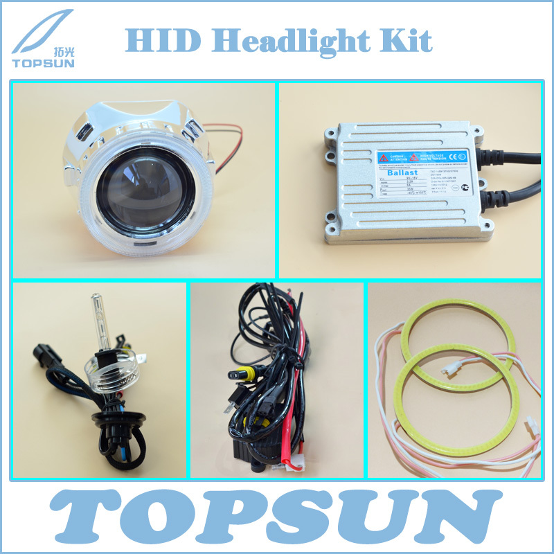 GZTOPHID2.5WST Projector Lens for H4 H7,Cover,Top Brand TC 35W H1 HID Bulb, Ballast, COB Angel Eyes, High/Low Beam Control Wire 3 0hqt ccfl double angel eyes 3 inch hid bixenon projector lens h4 h1 h7 h11 blue yellow red white green 2pcs hid slim ballast