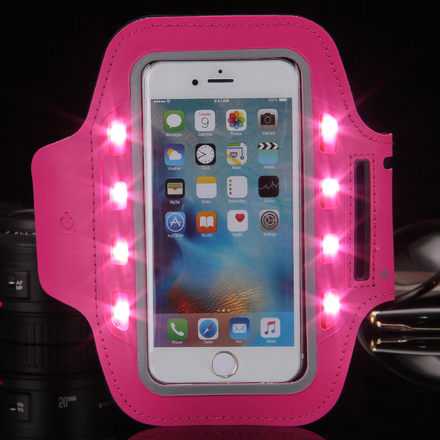 US $3 51 30% OFF|General LED Light Flashing Sport Pouch Running Waterproof  Gym Arm Band Case For huawei p9 lite p9 p8 honor 8 5c 5a 5 5