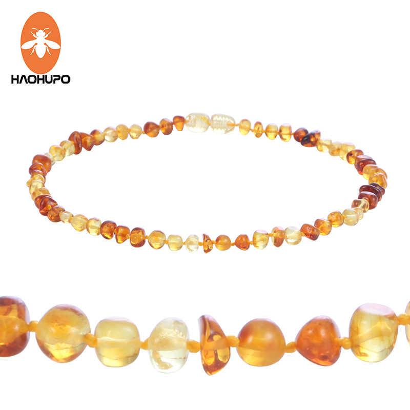 Haohupo Cognac Alami Amber Kalung untuk Bayi Dewasa Baroque Baltic Amber Manik-manik Perhiasan Batu Alam Kerah Supplier 7 Warna