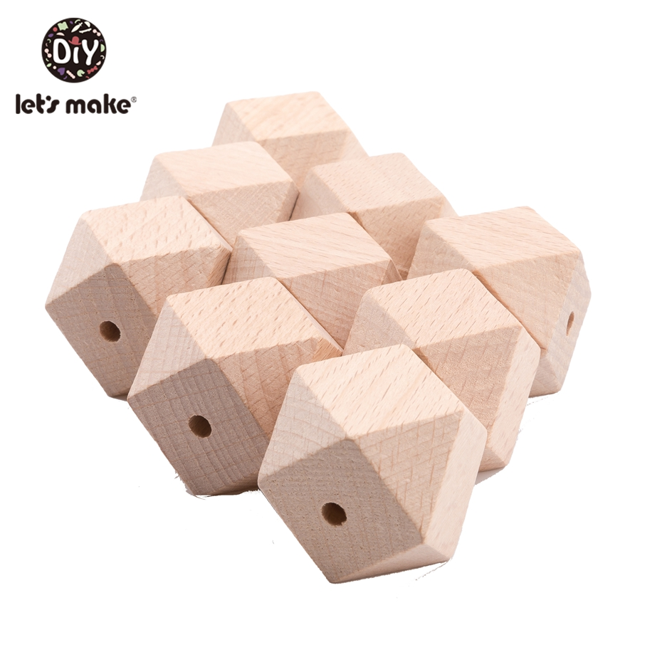 Let'S Make 100Pc 16Mm 20Mm Hexagon Beech Wood Beads Teething Toys For Baby Diy Toys Rattle Teether Toy Wooden Baby Teethers