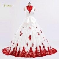 Loverxu Vestido De Noiva High Neck A Line Red Wedding Dresses 2017 Appliques Matte Satin Contrast