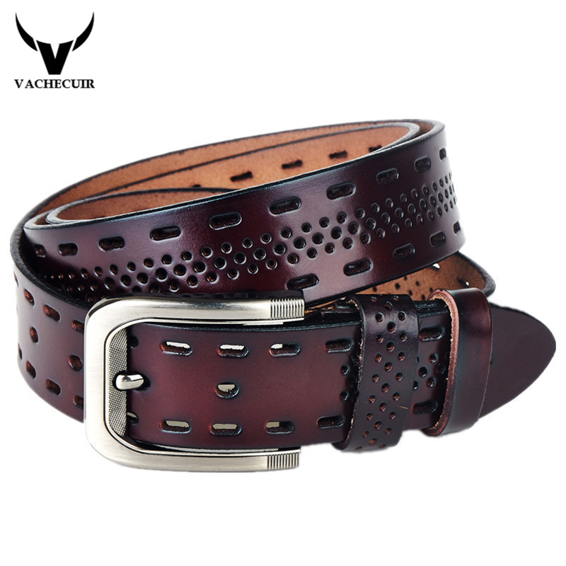 VACHECUIR Top Brand Luxury 100% Genuine Leather Men's Belts,Casual Design Mens Hollow Ventilate Belt For Men,Hip Jeans Belts Q3