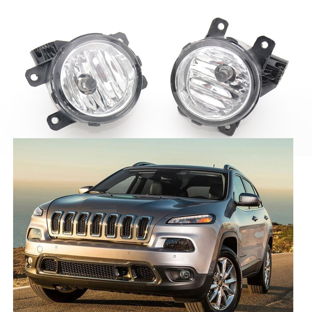 Pair fog lamp Clear Lens Bumper Fog Lights Driving Lamps For Jeep Cherokee 2014 for opel astra h gtc 2005 15 h11 wiring harness sockets wire connector switch 2 fog lights drl front bumper 5d lens led lamp