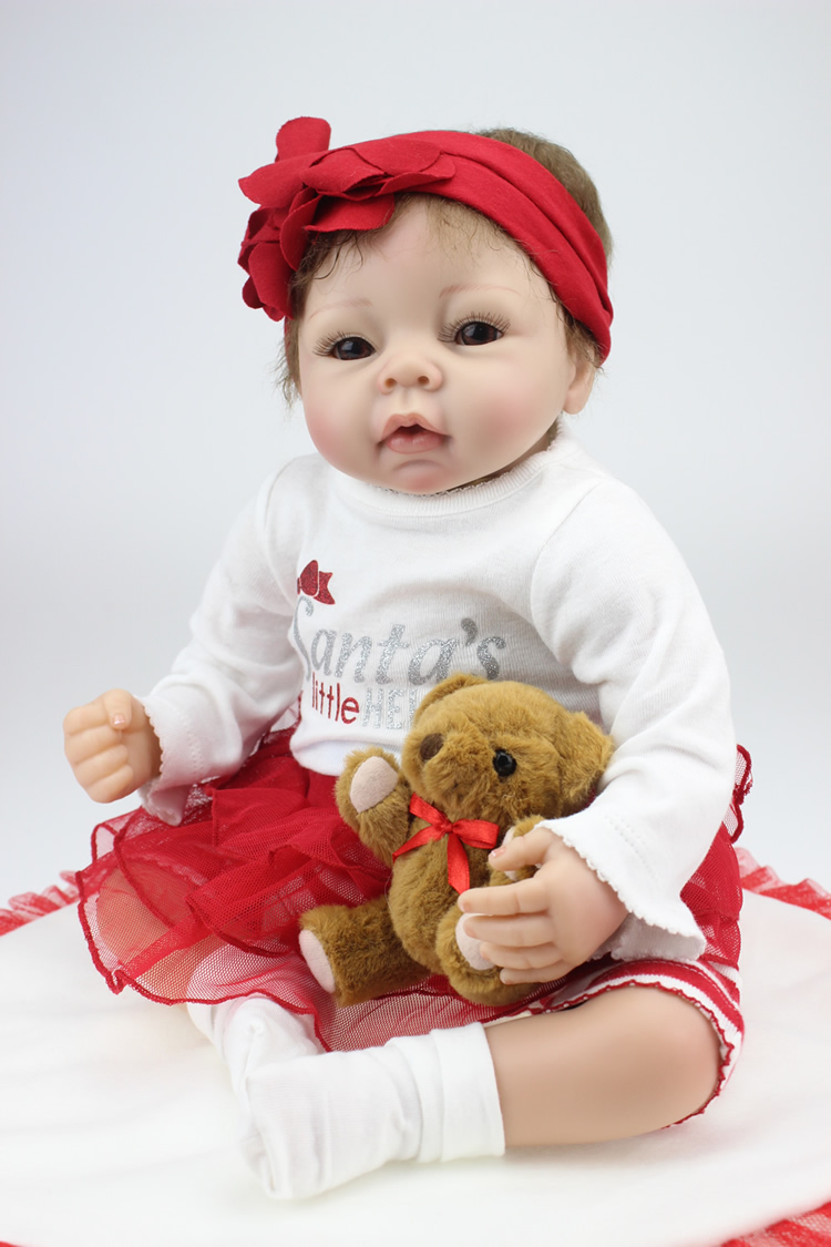 22 inch silicone reborn babies Dolls Soft Vinyl lifelike Girls Christmas Gift Baby Toys Birthday Gifts Juguetes Play Doll