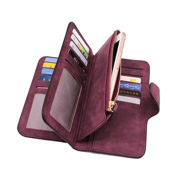 Suede Leather Zipper Long Wallet  2