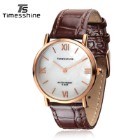Timesshines Brand Quartz Watch Lovers Watches Women Men Dress Watches Leather Wristwatches Fashion Casual Watches FW01RG
