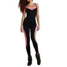 Women Summer Backless Bodysuit Tight Yoga Gym Running Sport Fitness Set Jogging Sportswear Pants Jumpsuit Tracksuit